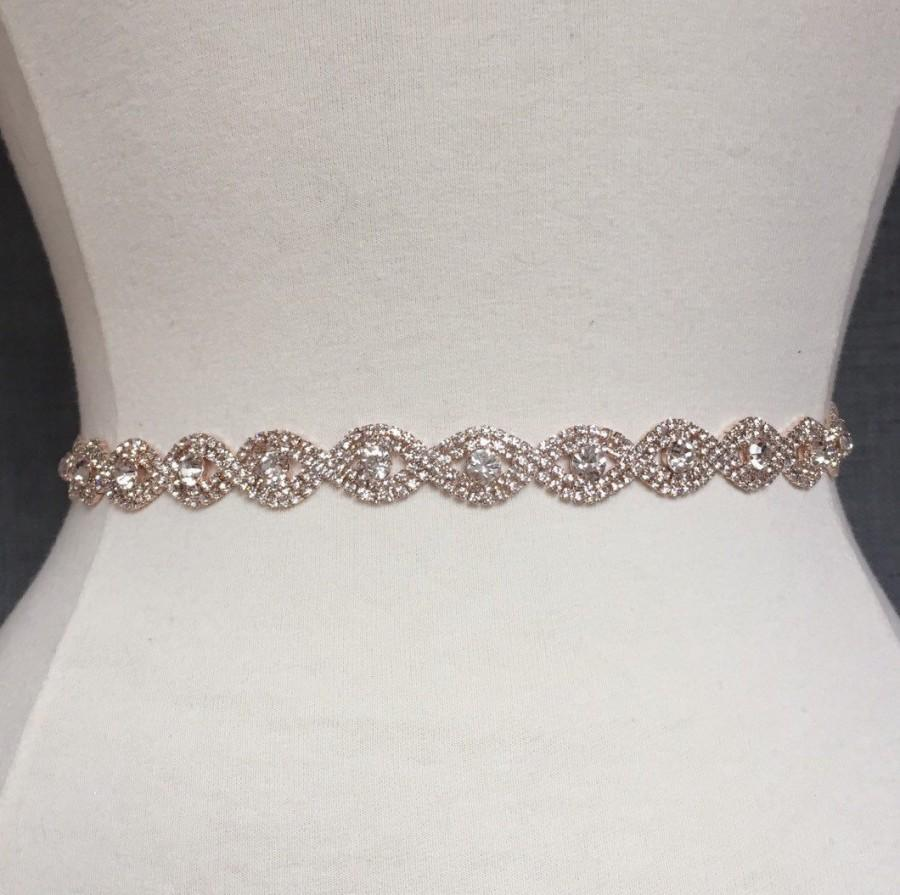 Mariage - Full Length Rose Gold Rhinestone Bridal Belt with Clasp Closure-Thin Bridal Belt-Bridal Sash-Rose Gold Bridal Belt-Bridesmaids Belt EYM B036