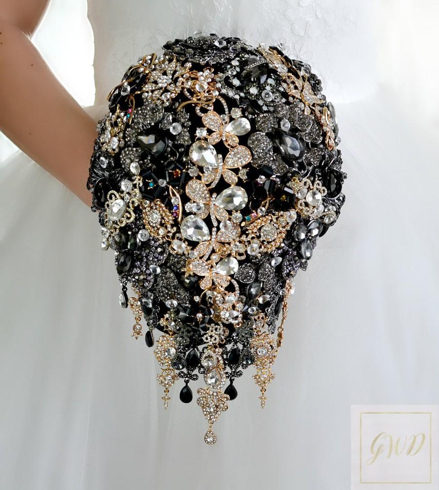 Свадьба - Wedding Bouquet Bridal Bouquet Brooch Bouquet Bridesmaids Bouquet Black Women Magic Jewelry Brooches Bouquet For Brides Gatsby Black Bouquet