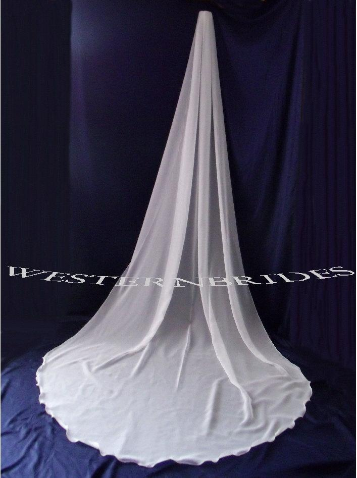 Hochzeit - Cathedral chiffon veil. White or ivory your choice.