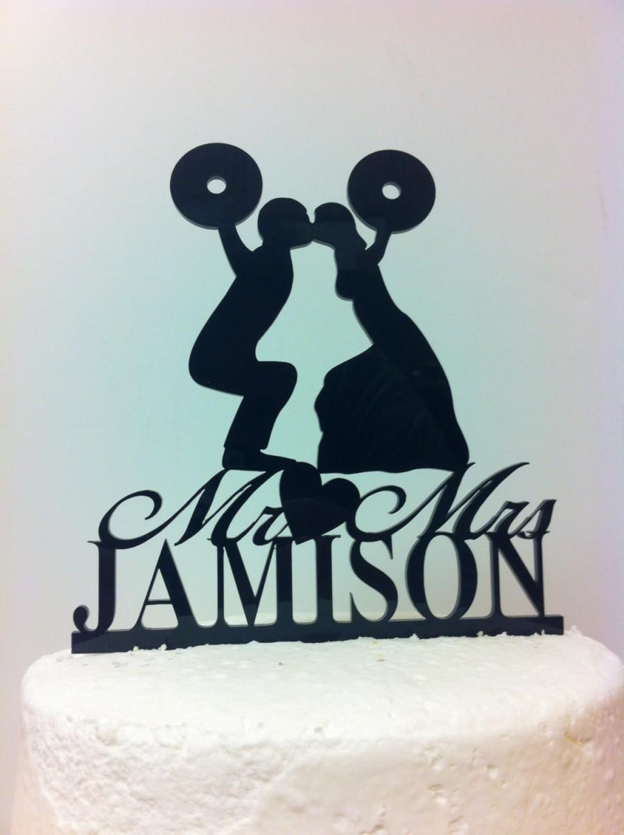 Mariage - Silhouette Couple Weight Lifting, Cross Fit Training Wedding Cake Topper