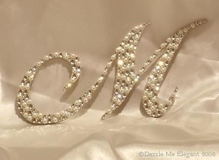 Mariage - Crystal and Pearl Cake Topper - Wedding Cake Topper - Monogram Letter Cake Topper - Original Crystal and Pearl Cake Topper - Vintage Wedding