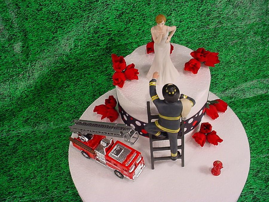 Wedding - Bride blowing Kisses and Fireman to the Rescue Groom Firefighter Wedding Cake Toppers Fire Hot FireTruck Romantic Couple Custom Figurines-1A
