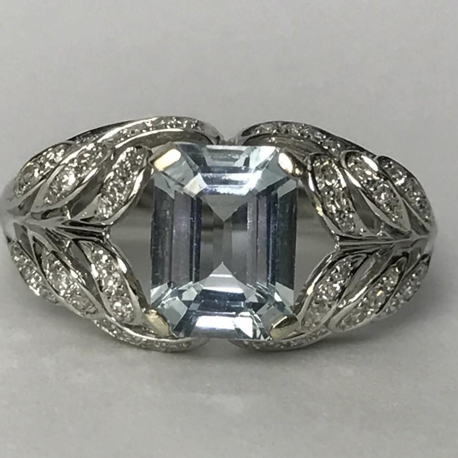 Свадьба - Vintage EFFY Aquamarine and Diamond Ring. 14k White Gold. Unique Engagement Ring. March Birthstone. 19th Anniversary. Estate Jewelry.