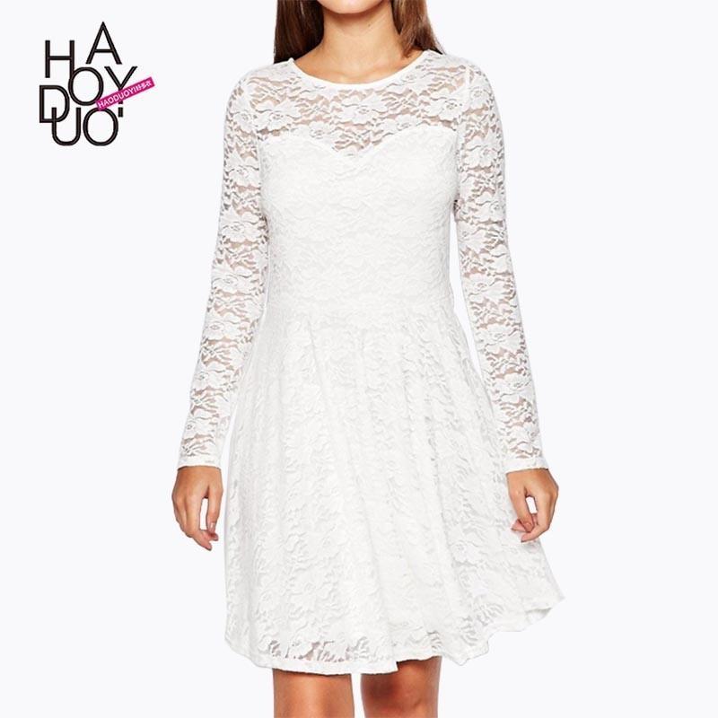 زفاف - Ladies fall 2017 new stylish sweet lace a length pleated sleeves round neck dress - Bonny YZOZO Boutique Store