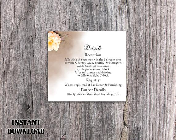 Wedding - DIY Wedding Details Card Template Editable Word File Download Printable Details Card Off-white Details Card Floral Rose Enclosure Cards
