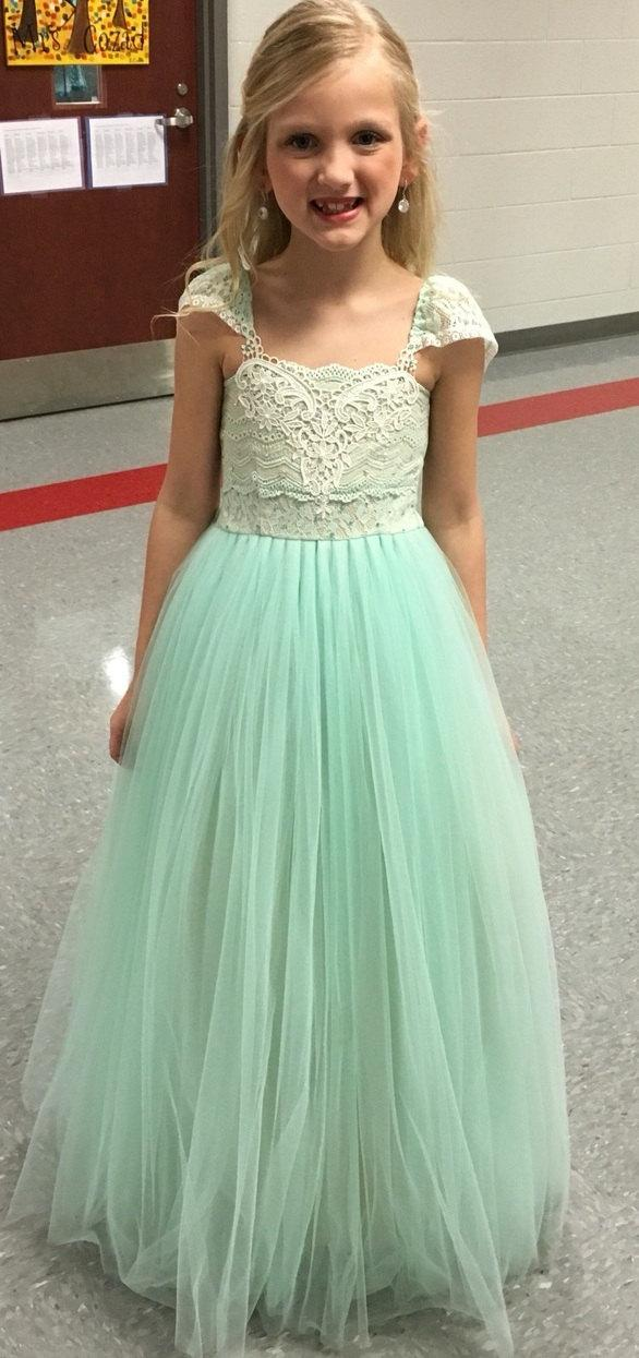 Mariage - Express shipping MAGIC Mint Green Flower Girl Dress/ Birthday Tutu Dress/ Girl Photoshoot outfit/ Girls Tutu Dress/ Floor length mint green