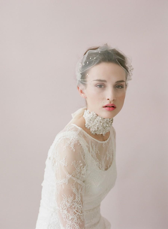 Mariage - Bridal bandeau veil - Rhinestone adorned tulle bandeau veil - Style 425 - Ready to Ship