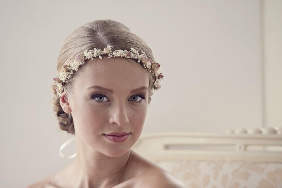Hochzeit - Woodland hair crown Rustic flower crown Boho wedding head piece Dried flower Bridal wreath Floral headpiece Dried flower crown