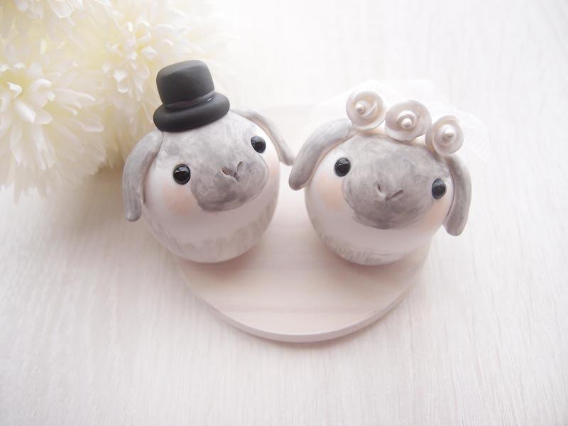 Wedding - Love Wedding Cake Toppers - Sweet bunny with base