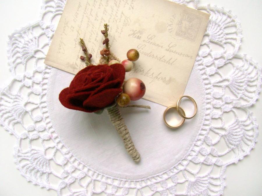 Wedding - Mens Burgundy Felt Rose Boutonniere, Felt Wedding Flowers Grooms Wedding Boutonniere, Lapel Flower, Wine Rose, Groomsmen, Buttonhole