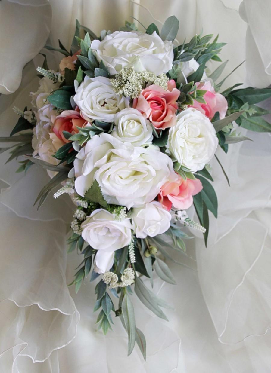 Hochzeit - Teardrop, cascade bridal bouquet, wedding flowers, artificial wedding bouquet.  Roses, lissianthus, peonies, eucalyptus foliage.