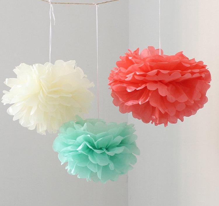 12pcs mixed mint coral ivory diy tissue paper flower pom poms 12pcs mixed mint coral ivory diy tissue paper flower pom poms wedding birthday shower party hanging decoration mightylinksfo
