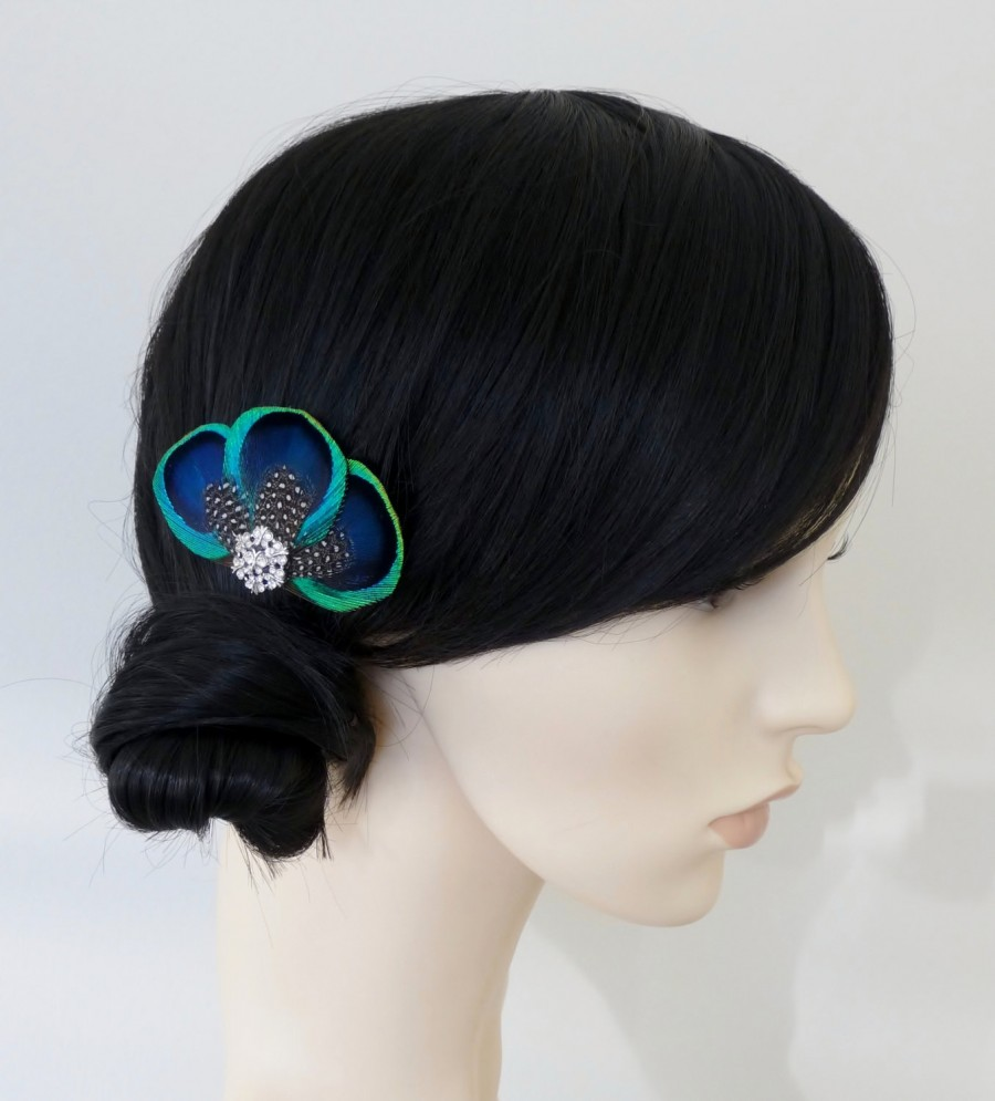 Düğün - Peacock Feather Hair Clip Bridesmaids Hair Accessory Crystal Turquoise Blue Fascinator Wedding Bridal Accessories 'Tahlia'