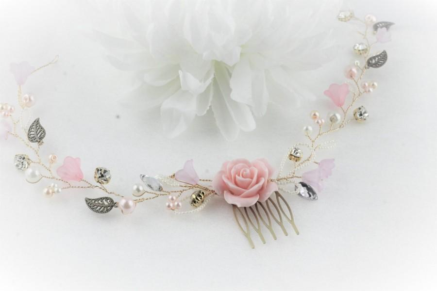 Hochzeit - Blush Pink bridal comb, Wedding comb Floral vine hair accessory, Pink ivory gold wedding comb, Rhinestone hair vine comb Pink wedding.
