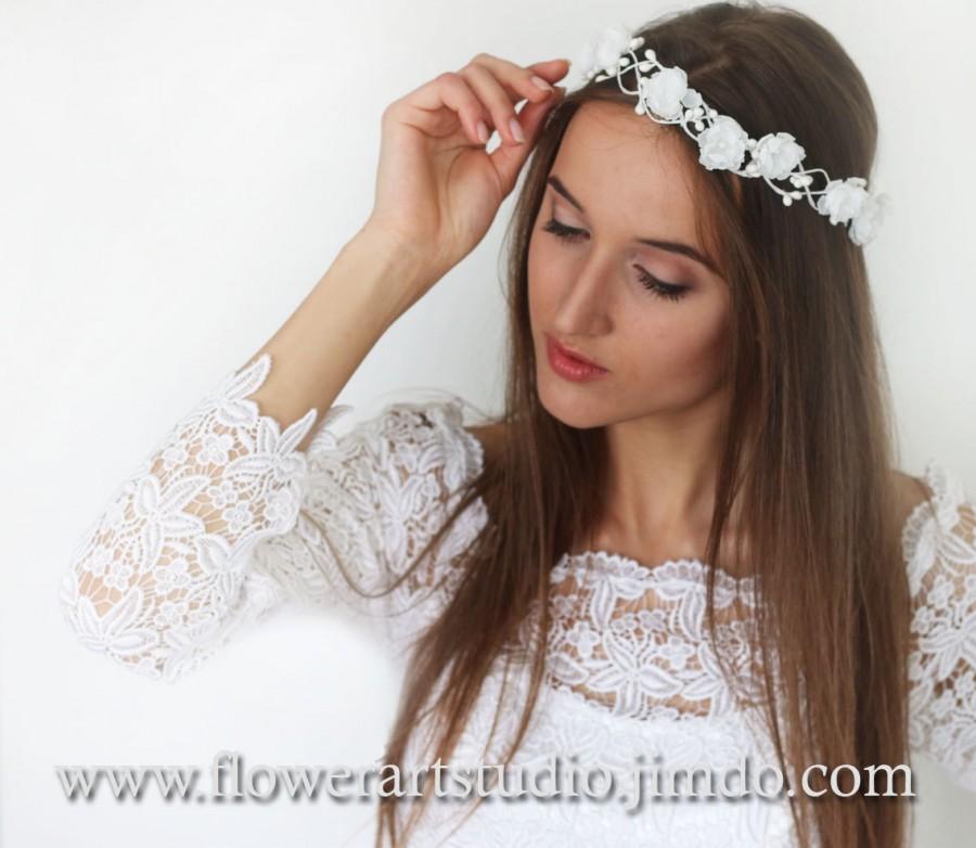 Mariage - White Bridal Headpiece White Bridal Flower Crown Feminine Floral Crown Flower Girl Hair Wreath Flowergirl flower crown