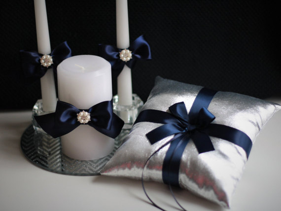 زفاف - Silver Navy Ring Bearer Pillow   Flower Girl Basket   Unity candles  Silvet Navy Wedding Candles   Wedding Basket & Ring Holder Pillow Set