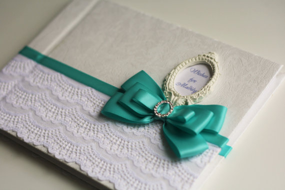 Wedding - Mint & White Wedding Guest Book with initials  Mint Baby shower Wishes Book  Personalized Wedding Sign in Book   Ostrich Feather Pen