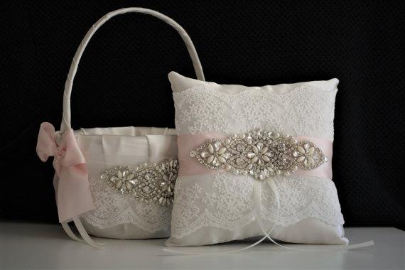 Hochzeit - Ivory Wedding Basket  Ivory Wedding Pillow  Blush Flower Girl Basket  Jewel Wedding Basket  Jewel Ring Bearer Pillow  Blush Pink Bearer