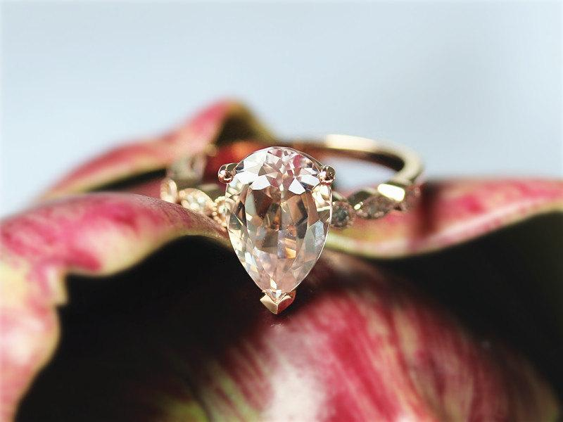 Wedding - 2.35ct Pear Shaped Light Peach Pink Morganite Engagement Ring 14K White Gold Morganite Diamond Ring Wedding Ring Aniversary Gift