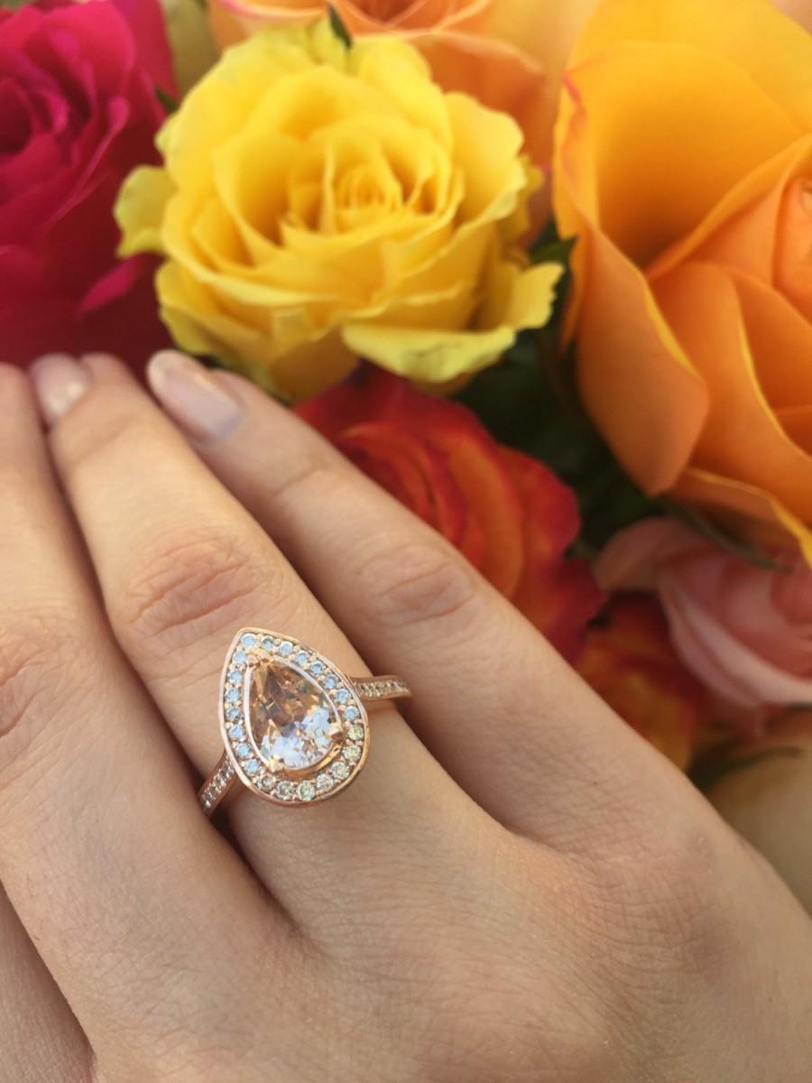 Свадьба - 14K Rose Gold Small Pear-Shape Morganite and Diamond Ring