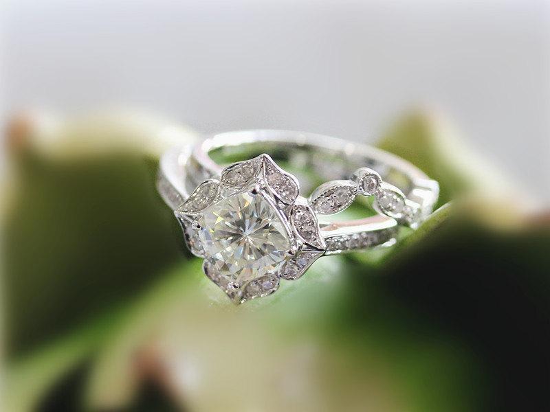 Свадьба - 14K White Gold Wedding Ring Set Moissanite Ring Set 6.5mm Brilliant Moissanite Engagement Ring Set Solid Diamond Matching Wedding Ring Set