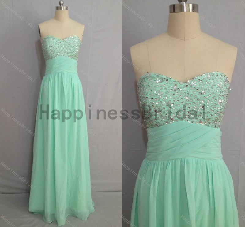 Boda - Mint sweetheart chiffon prom dress with beads,prom dress,floor length dress 2014,chiffon prom dress,long evening dress,real formal dress