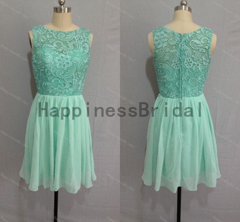 Mariage - High quality dress 2014,mint formal dress,short prom dress ,lace chiffon prom dress,short evening dress,hot sales dress,formal evening dress