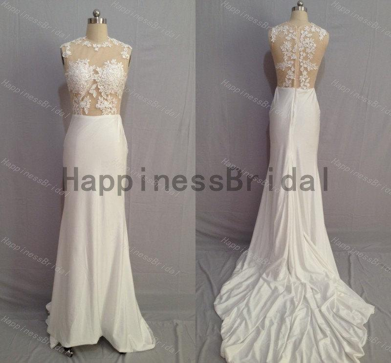 Mariage - Ivory prom dress with applique,long prom dress,spandex evening dress,fashion bridesmaid dress,fashion prom dress,formal evening dress 2014