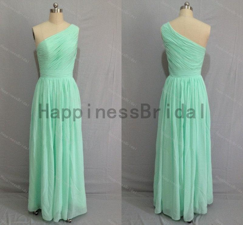 Boda - Mint one-shoulder chiffon prom dress with pleat,mint prom dresses,bridesmaid dress,chiffon prom dress,long evening dress 2016,formal dresses
