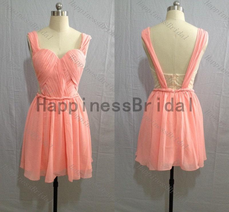 Wedding - Coral prom dress,short bridesmaid dress,fashion bridesmaid dresses,simple evening dress,formal evening dress,hot sales dress,sash dress