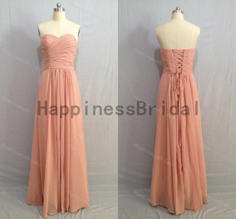 Boda - Dusty pink sweetheart dres with pleated,long prom dress,evening dress,fashion bridesmaid dress,chiffon prom dress,formal evening dress 2016