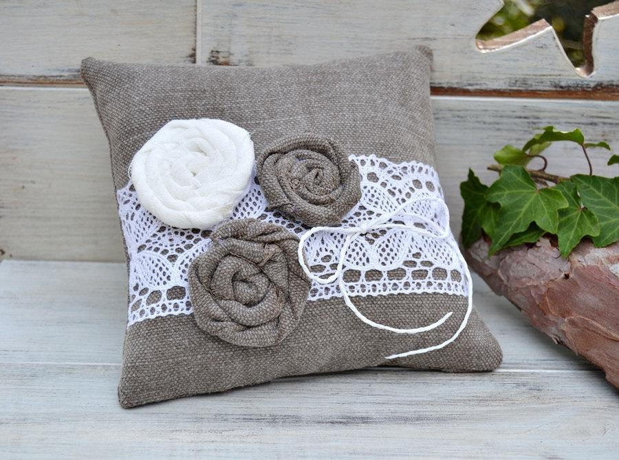 Hochzeit - Wedding ring pillow flowers Lace, Cotton ring pillow, Rustic ring pillow flowers, Peanut ring pillow, Ring bearer pillow flower girl.