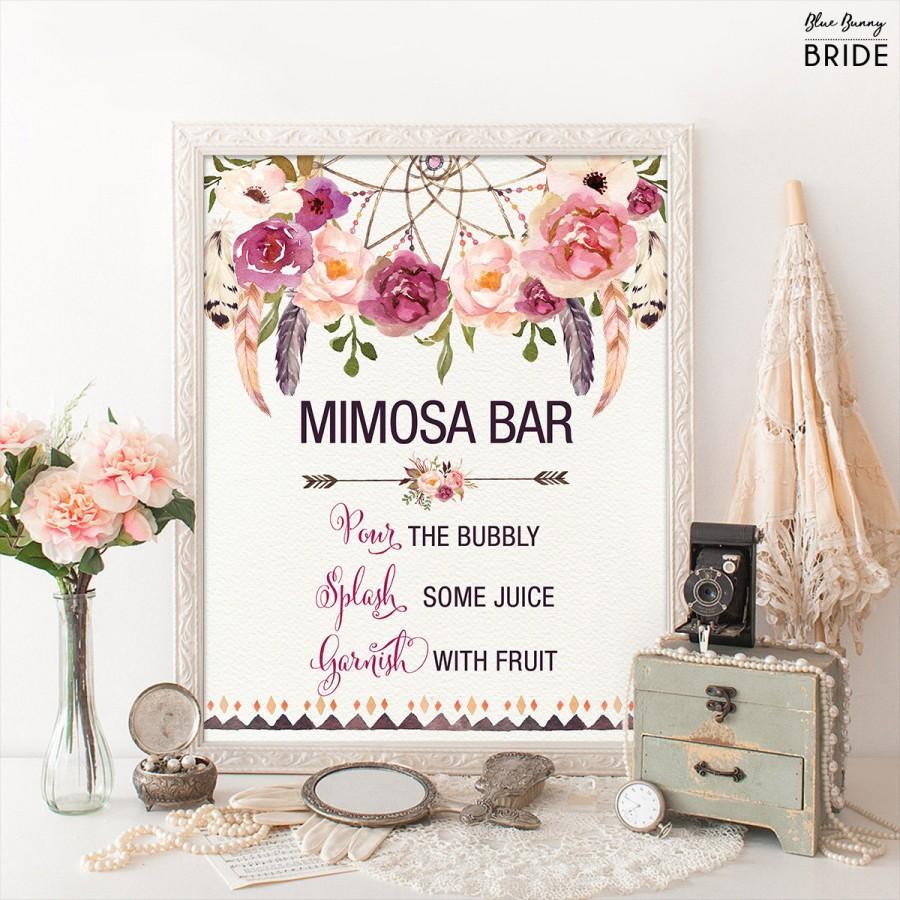 Wedding - Printable MIMOSA BAR. Bohemian Bridal Shower Sign. Boho Floral Bridal Shower Decoration. Dreamcatcher Decor. Rustic Feathers. FLO13