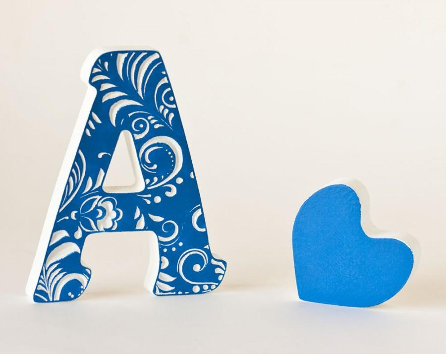 Hochzeit - Wood letter name, wood name sign, wood children name,wood baby, baby name letters hanging,baby name letters,baby girl name letters,blue gift
