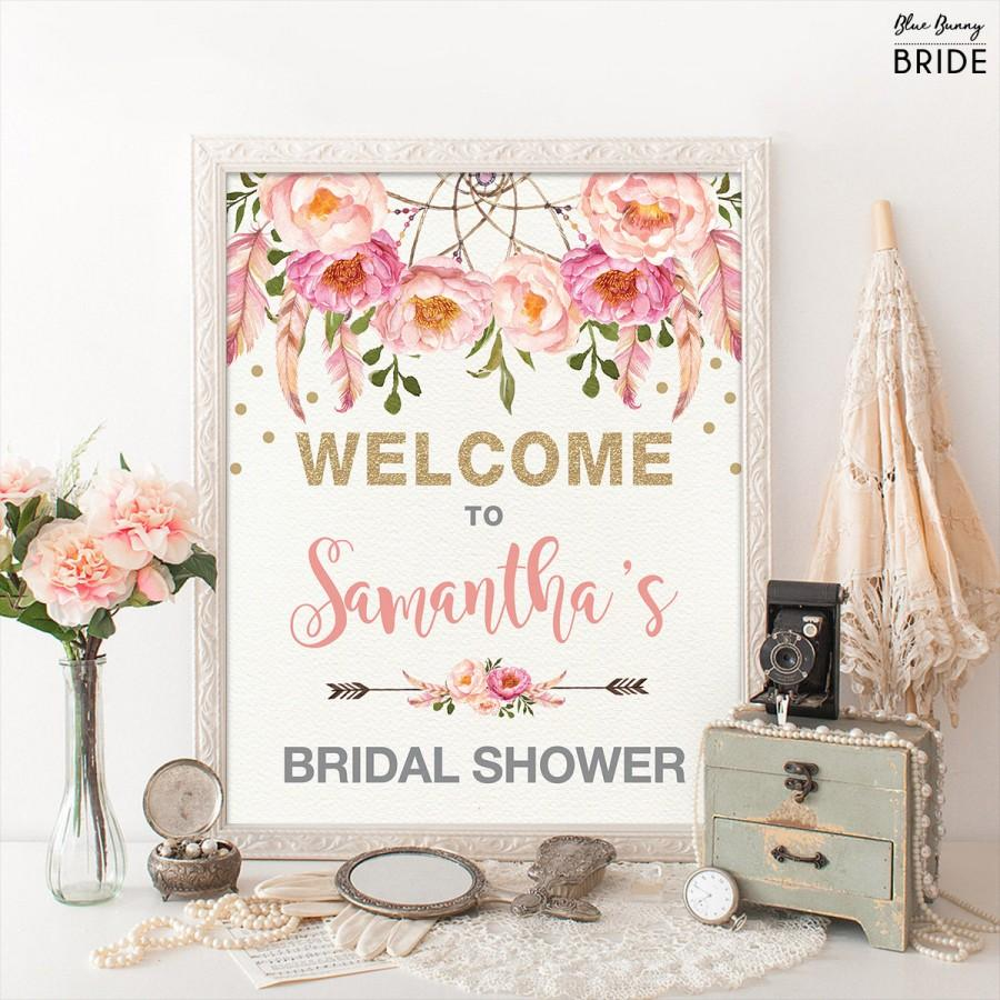 Wedding - Floral Bridal Shower Welcome Sign. Pink Gold Bohemian Flowers. Boho Bridal Shower Decor. Pink Feathers Glitter Confetti. Dreamcatcher FLO12A