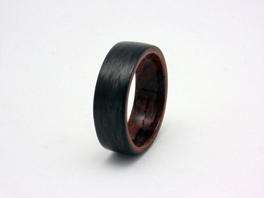 Свадьба - Carbon Fiber and wood ring with bentwood Waterfall Bubinga