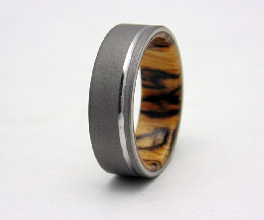 Hochzeit - Titanium and wood wedding band  Spalted Tamarind wood and blasted Titanium ring