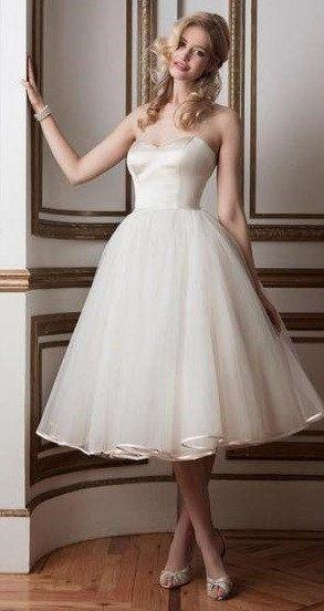 Wedding - Strapless Sweetheart Tea Length Tulle Wedding Dress
