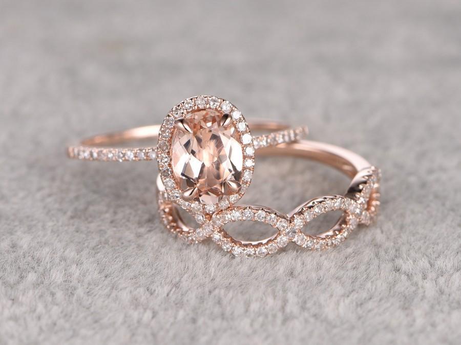Свадьба - 2pcs Morganite Bridal Ring Set,Engagement ring Rose gold,Diamond wedding band,14k,6x8mm Oval Cut,Promise Ring,Loop curved matching band