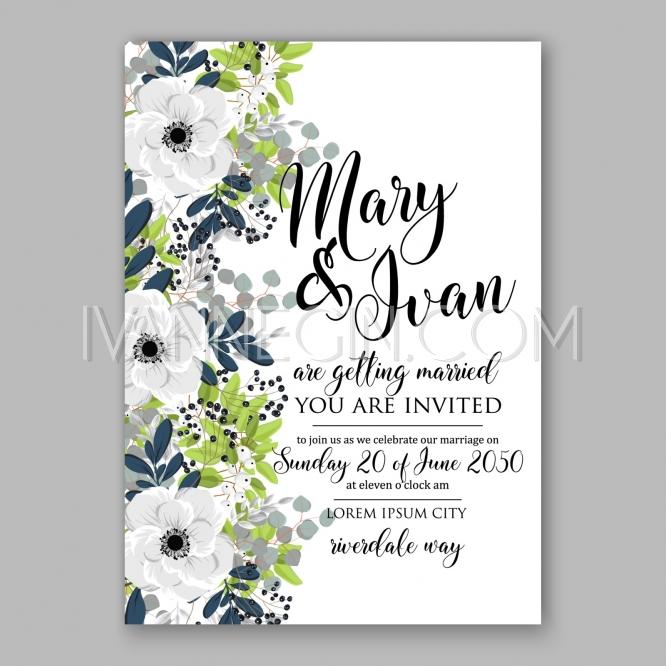 Mariage - Anemone Bridal Shower invitation cards in light gray and navу theme - Unique vector illustrations, christmas cards, wedding invitations, images and photos by Ivan Negin