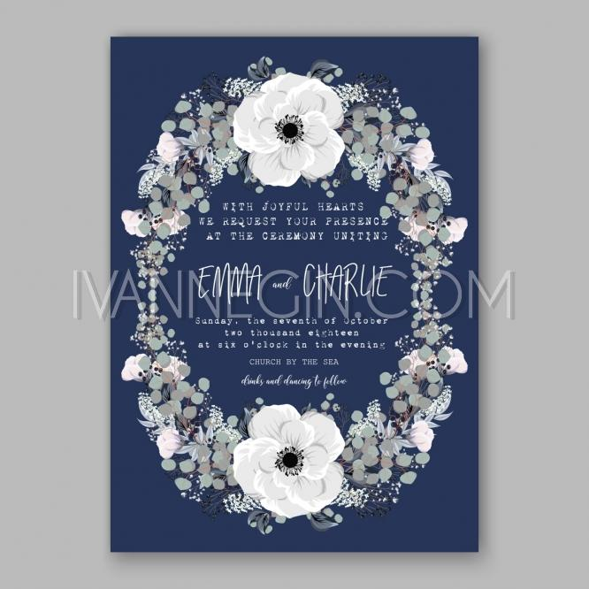 Mariage - Anemone Wedding Invitation Card Template Floral Bridal Wreath Bouquet with wight flowers, peony euca - Unique vector illustrations, christmas cards, wedding invitations, images and photos by Ivan Negin
