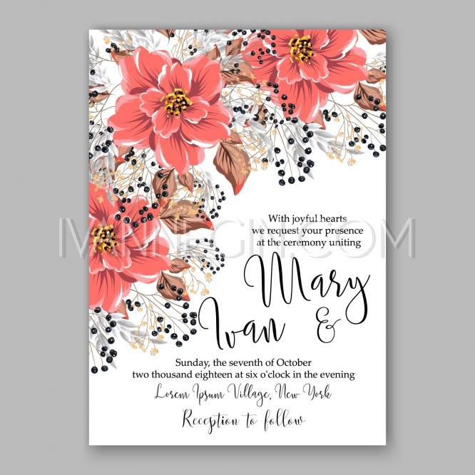 Wedding - Wedding Invitation Floral Bridal Shower Invitation Wreath with pink flowers Anemone, Peony - Unique vector illustrations, christmas cards, wedding invitations, images and photos by Ivan Negin