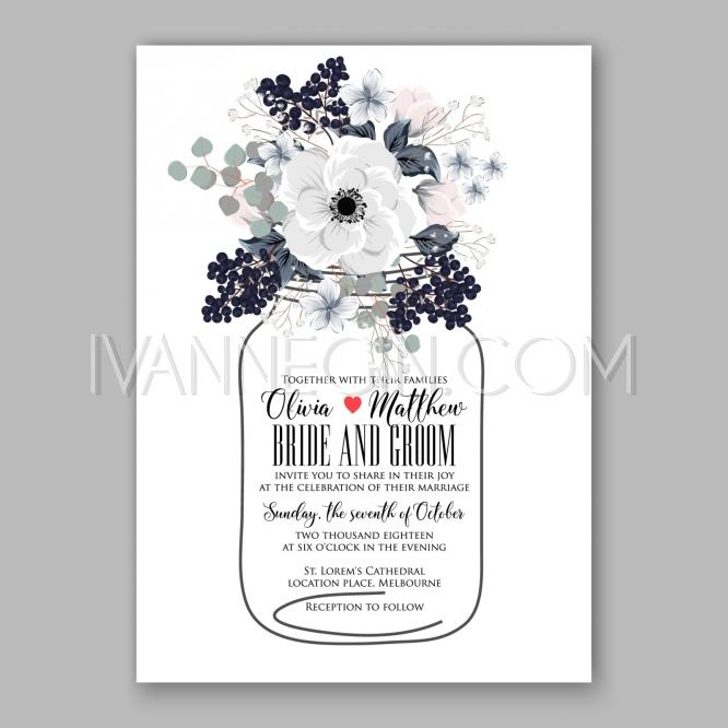 Boda - Anemone Wedding Invitation Card Template Floral Bridal Wreath Bouquet with wight flowers, peony euca - Unique vector illustrations, christmas cards, wedding invitations, images and photos by Ivan Negin