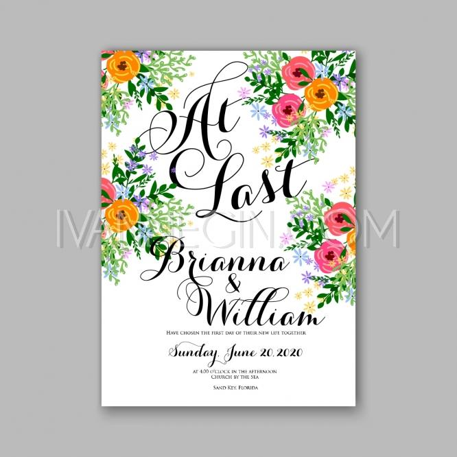 Wedding - Wedding invitation printable template with floral wreath or bouquet of rose flower and daisy Bridal - Unique vector illustrations, christmas cards, wedding invitations, images and photos by Ivan Negin