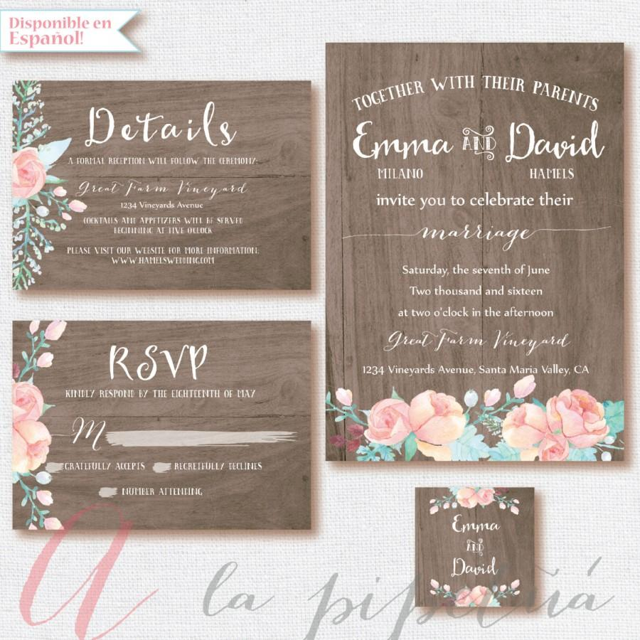 wood wedding suit wedding invitation wedding rsvp card wedding rustic weeding diy rusticfloral wood printable wedding invitation