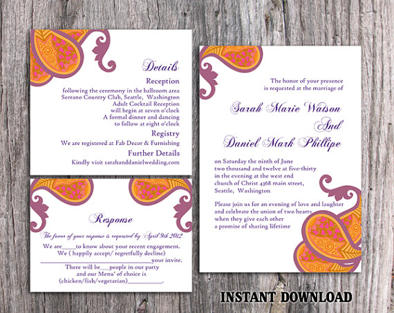 Wedding - Bollywood Wedding Invitation Template Download Printable Invitations Editable Orange Wedding Invitation Indian invitation Paisley Invite DIY