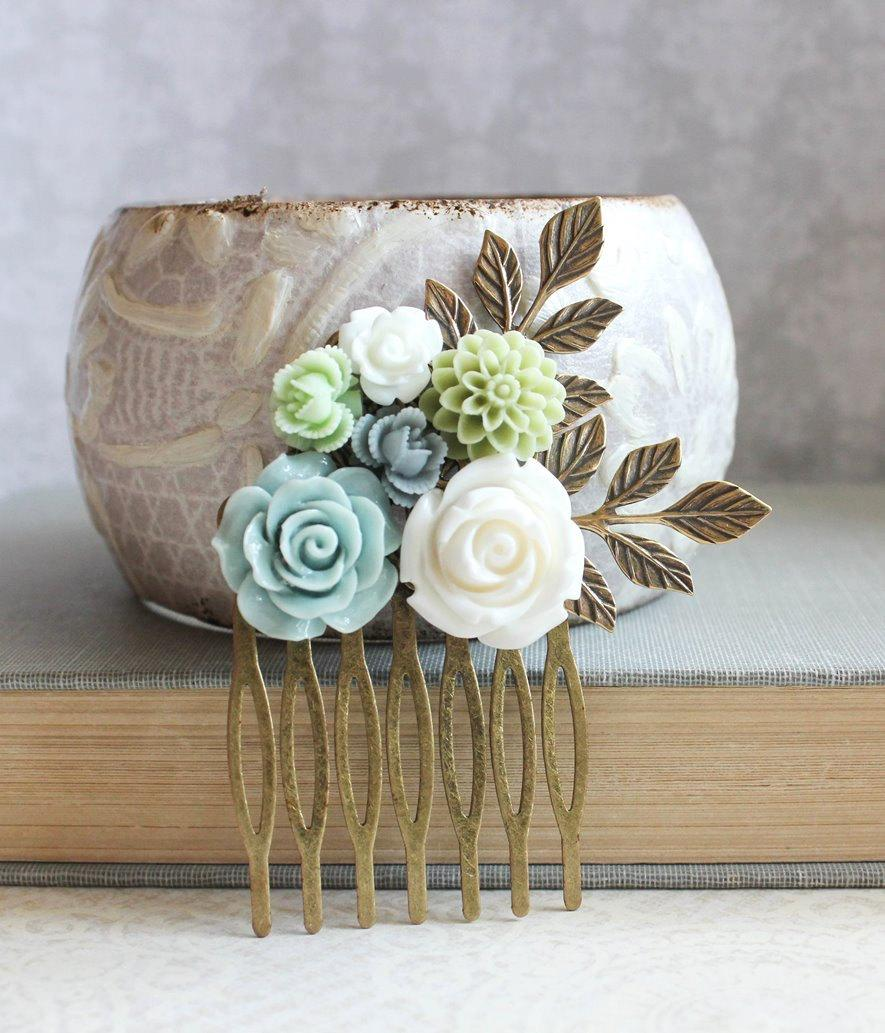 Mariage - Grey Flower Bridal Comb Something Blue Bridesmaids Gift Light Blue Rose Comb Mint Green Chrysanthemum Slate Blue Wedding Floral Hair Piece