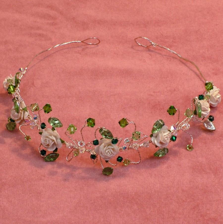 Свадьба - Emerald green crystal tiara, fantasy forest wedding leaf hair accessory, ivory rose bridal circlet, rustic woodland headband, flower wreath