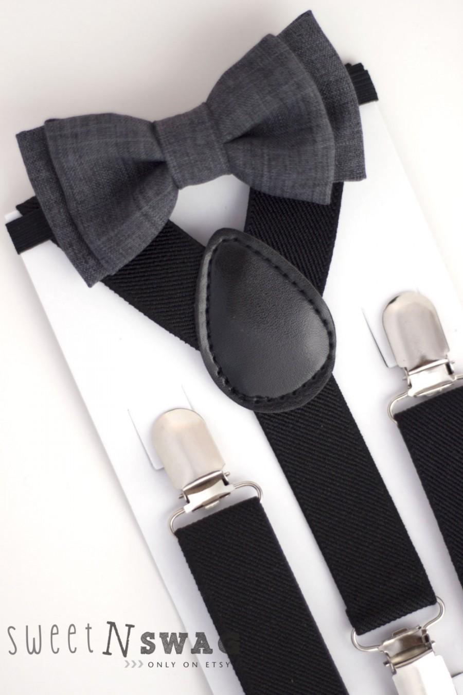 Mariage - SUSPENDER & BOWTIE SET.  Newborn - Adult sizes. Black Suspenders. Dark grey chambray bow tie.