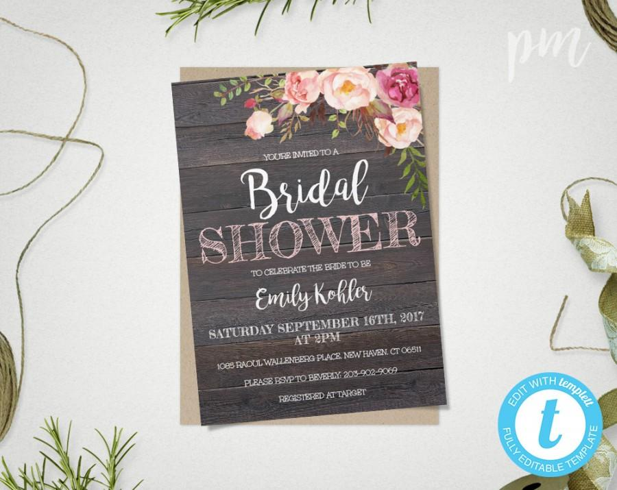 rustic floral bridal shower invitation template printable rustic bridal shower template barn wood bridal shower invite instant download